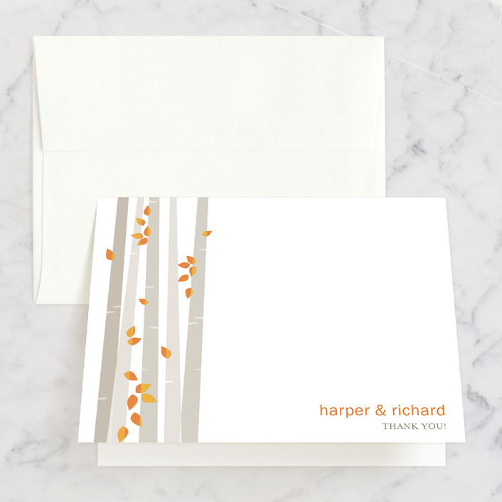 """Into the Woods"" - Thank You Cards in Orange by Robin Ott."