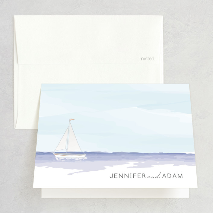 """Set Sail"" - Folded Thank You Card in Mediterranean by Sarah Brown."
