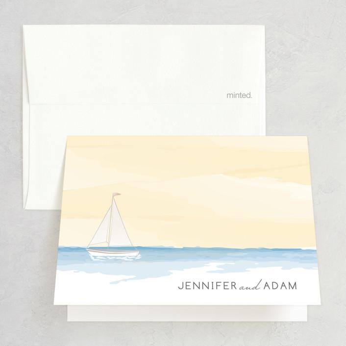 """Set Sail"" - Folded Thank You Card in Mediterranean by Sarah Brown."