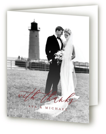 This is a portrait classic and formal, simple and minimalist, red Wedding Thank You Cards by Jennifer Postorino called Delicate with Standard printing on Standard Cover in Card fold over (blank inside) format. A sophisticated wedding invitation featuring romantic rolling ...