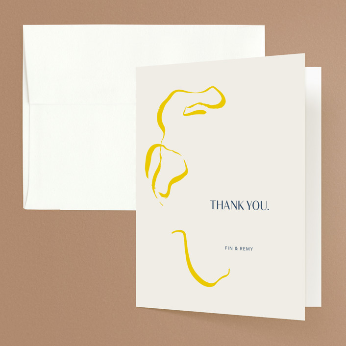 """Ophelia"" - Modern Folded Thank You Card in Golden by Mere Paper."