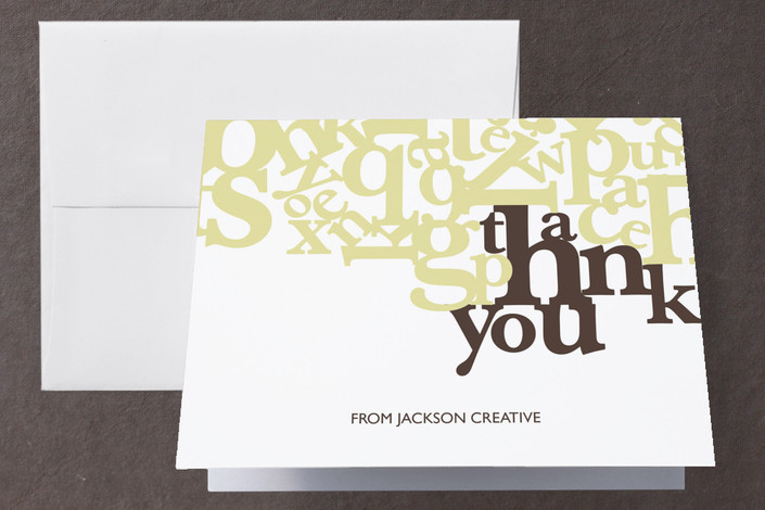 """""""Standout"""" - Folded Thank You Card in Leaf by R studio."""