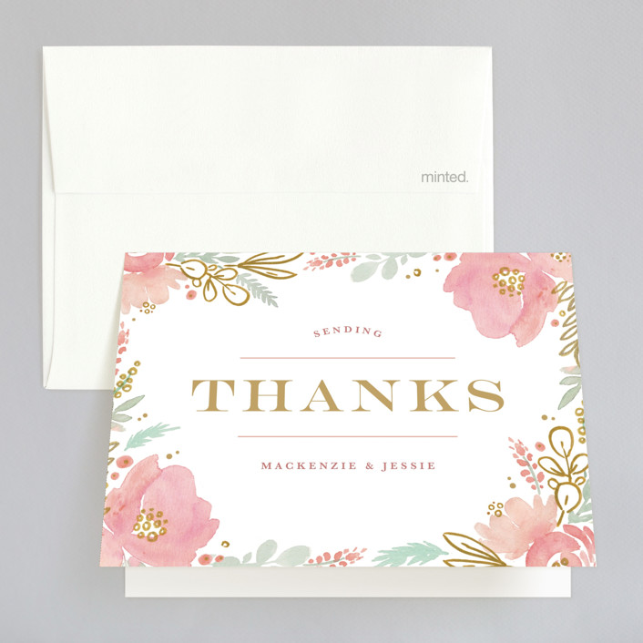 """""""Floral Vignette"""" - Thank You Cards in Brass by Kristen Smith."""