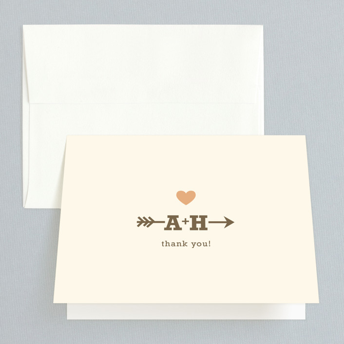 """""""Love Struck"""" - Vintage, Whimsical & Funny Thank You Cards in Pale Salmon by The Social Type."""