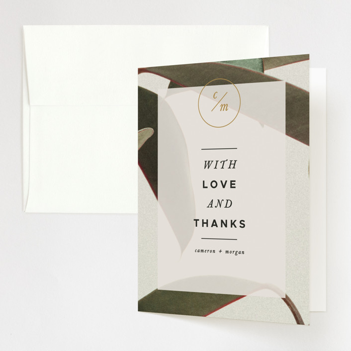 """Powder Room Florals"" - Folded Thank You Card in Cream by Ariel Rutland."