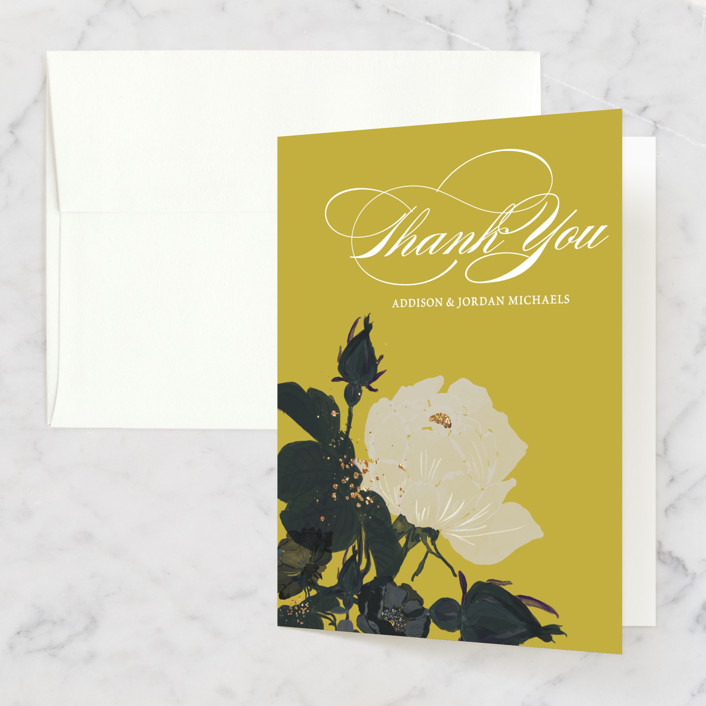 """""""Romanticism"""" - Floral & Botanical Thank You Cards in Slate by Annie Walker."""
