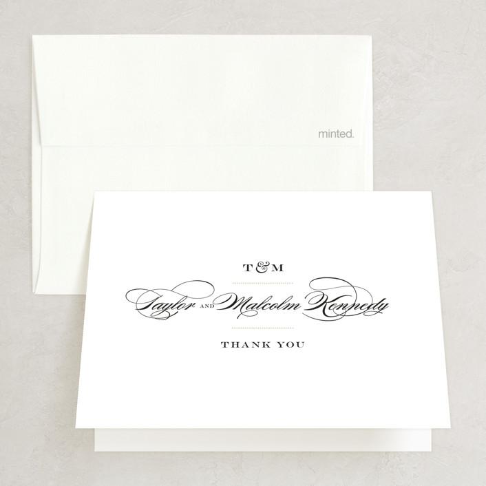 """""""Charming Go Lightly"""" - Folded Thank You Card in Crisp Black by danielleb."""