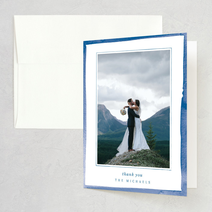 """Watercolor Edged Border"" - Thank You Cards in Blue Bell by Baumbirdy."