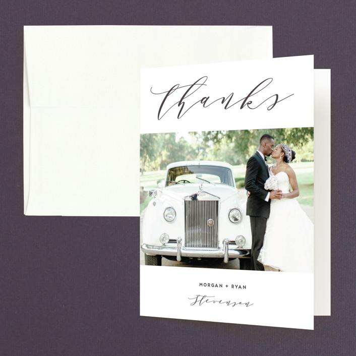"""Elegant Monogram"" - Folded Thank You Card in Tuxedo by Simona Camp."
