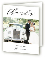 This is a black wedding thank you card by Simona Camp called Elegant Monogram with standard printing on strathmore in standard.