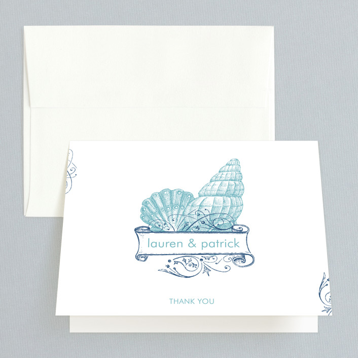 """""""By The Sea"""" - Thank You Cards in Columbia Blue by Splendid Press."""