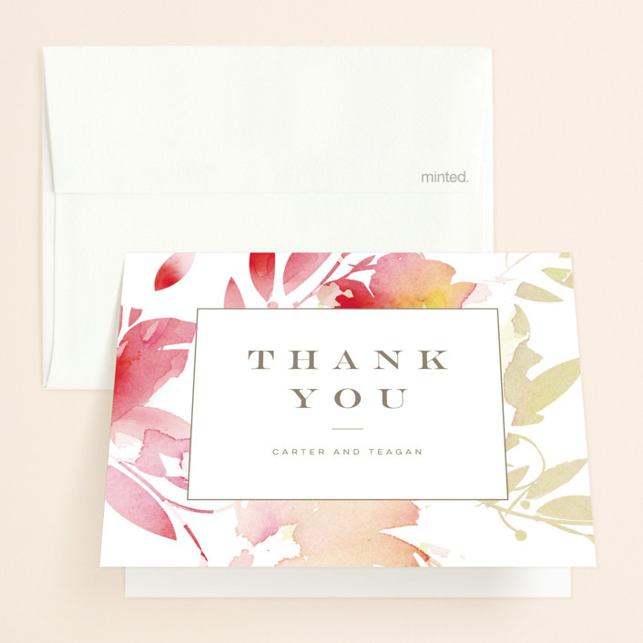 """Stately Florals"" - Floral & Botanical, Modern Thank You Cards in Poppy by Lori Wemple."