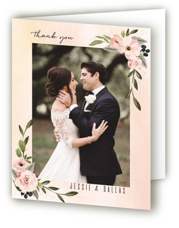 This is a botanical, painterly, colorful Wedding Thank You Cards by Susan Moyal called Diamond Blush with Standard printing on Standard Cover in Card fold over (blank inside) format. This wedding invitation features hand drawn leaves, florals & vines surrounding ...