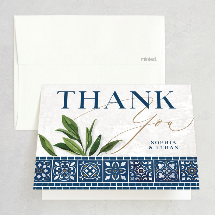 """Mediterranean Tiles"" - Folded Thank You Card in Ocean by GeekInk Design."