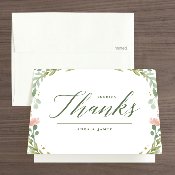"""""""Garden Glamour"""" - Thank You Cards in Sage by Kristen Smith."""