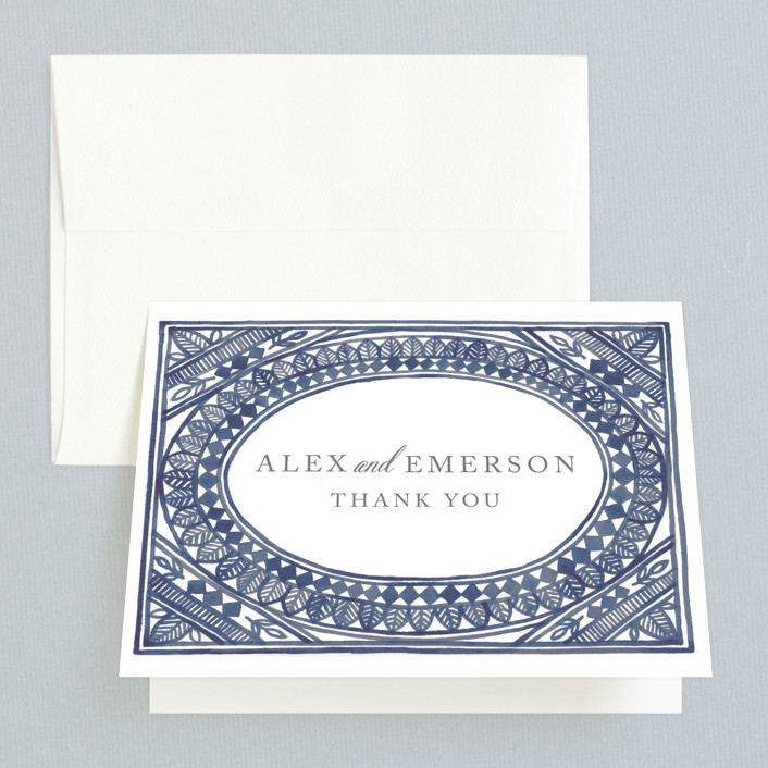 """""""Ornate Watercolor Frame"""" - Bohemian Thank You Cards in Lapis by Katharine Watson."""