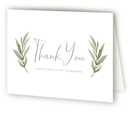 This is a landscape botanical, rustic, blue Wedding Thank You Cards by Wildfield Paper Co. called Summer Love with Standard printing on Standard Cover in Card fold over (blank inside) format. Delicate and full branches come together to perfectly frame ...
