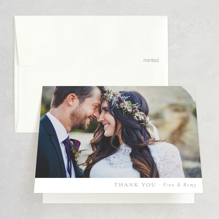"""""""On the Slopes"""" - Rustic Folded Thank You Card in Fog by Mere Paper."""