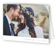 This is a grey wedding thank you card by Mere Paper called On the Slopes with standard printing on strathmore in standard.