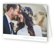 This is a blue wedding thank you card by Mere Paper called On the Slopes with standard printing on strathmore in standard.