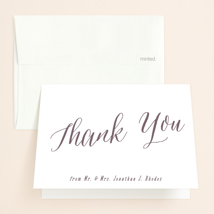 """""""Garden Lights"""" - Rustic Folded Thank You Card in Plum by Hooray Creative."""