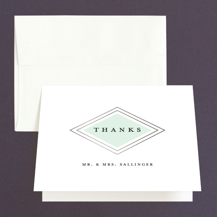 """Modern Elegance"" - Modern Thank You Cards in Mint by Stacey Meacham."