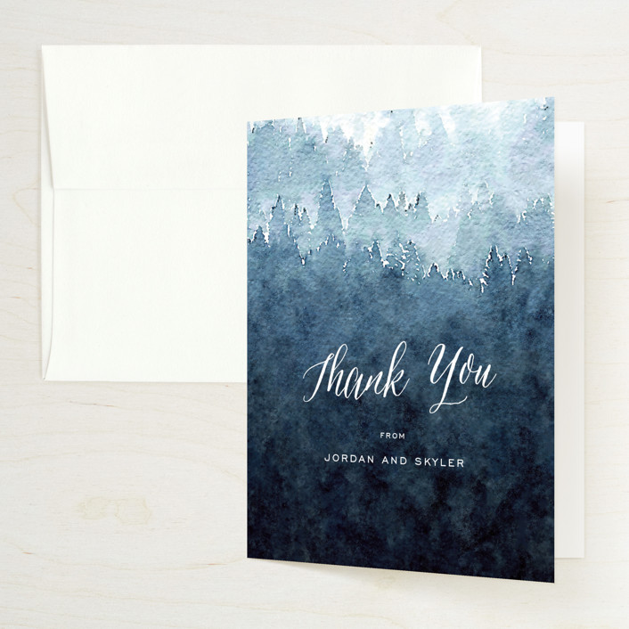 """Mountain Retreat"" - Rustic Folded Thank You Card in Evening Sky by Design Lotus."