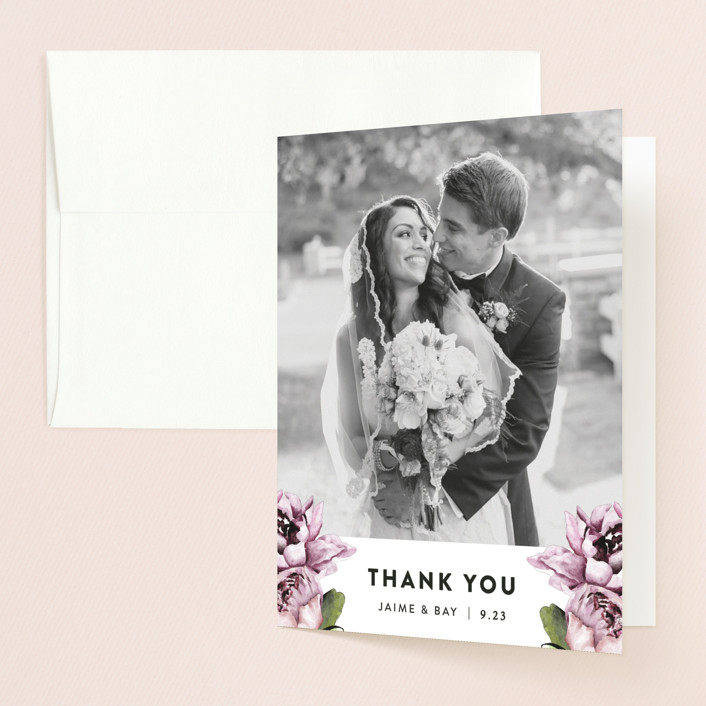 """Peony"" - Thank You Cards in Ice Mist by Cass Loh."