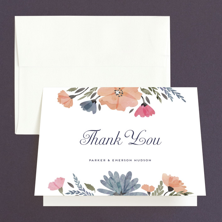 """""""Romantic Watercolor Flora"""" - Floral & Botanical Thank You Cards in Dhalia by Petra Kern."""