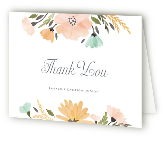 This is a landscape botanical, green, orange Wedding Thank You Cards by Petra Kern called Romantic Watercolor Flora with Standard printing on Standard Cover in Card fold over (blank inside) format. This romantic watercolor floral invite is perfect for nature ...