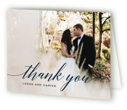 This is a blue wedding thank you card by Design Lotus called Someone Like You with standard printing on strathmore in standard.