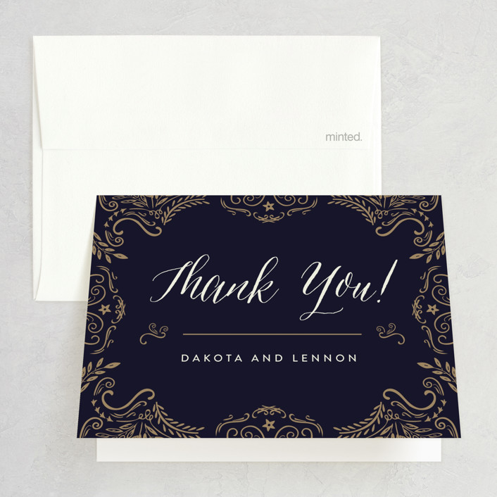 """Wedding Enchantment"" - Vintage Thank You Cards in Midnight by Chris Griffith."