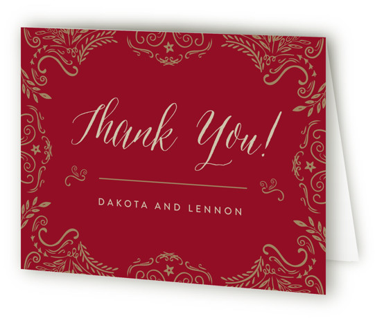 This is a landscape vintage, red Wedding Thank You Cards by Chris Griffith called Wedding Enchantment with Standard printing on Standard Cover in Card fold over (blank inside) format. Elegant scrolls and swirls give a vintage feel to this traditional ...