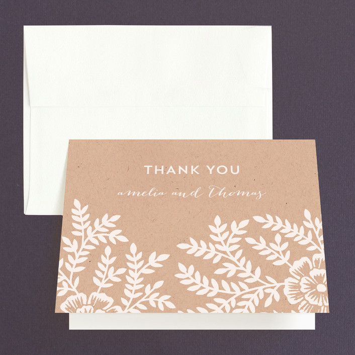 """Leaves and Kraft"" - Rustic, Floral & Botanical Thank You Cards in Kraft by Katharine Watson."