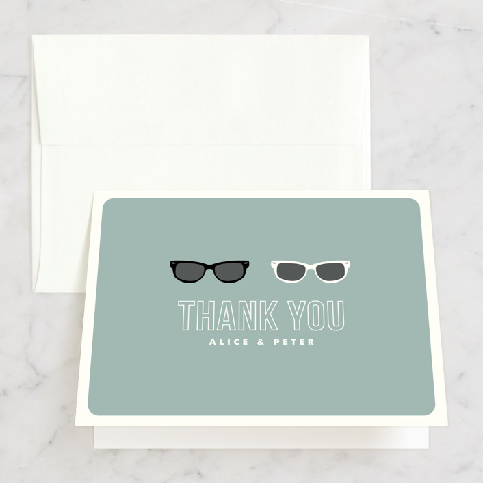 """Shades"" - Whimsical & Funny Thank You Cards in Celadon by Olive and Violet."