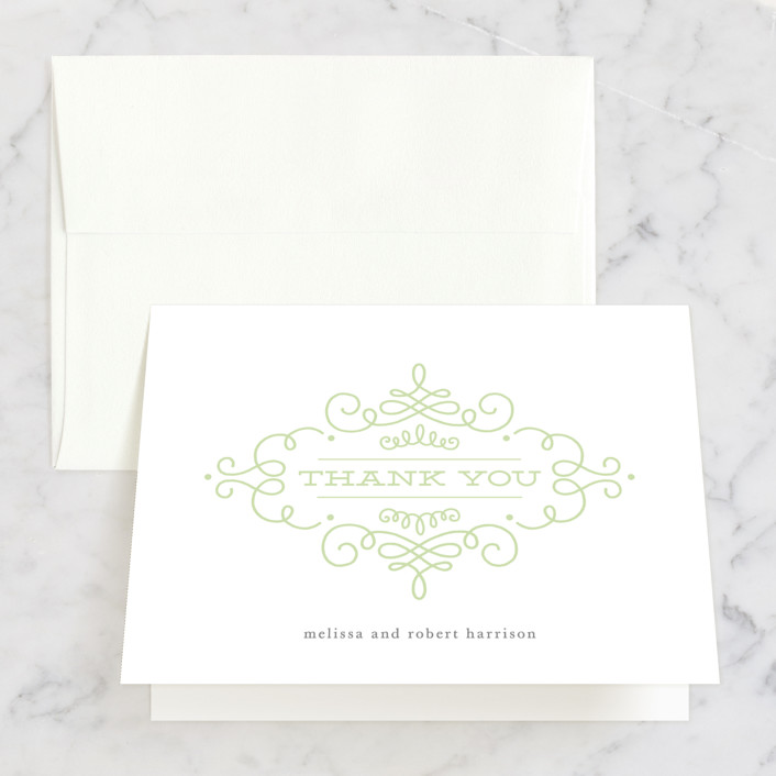 """""""Ornate Monogram"""" - Folded Thank You Card in Faux Gold by Kristen Smith."""