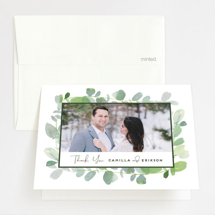 """Soft Eucalyptus"" - Folded Thank You Card in Garden by Yao Cheng Design."