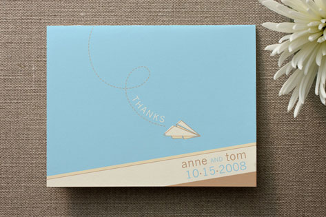Paper Airplane Thank You Cards