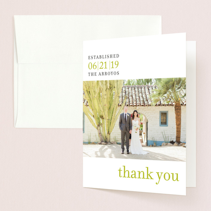 """""""float + celebrate"""" - Bold typographic, Modern Thank You Cards in Celery by Float Paperie."""