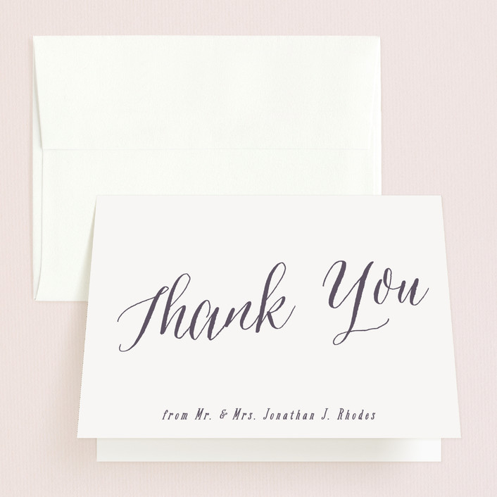 """Garden Lights"" - Rustic Folded Thank You Card in Plum by Hooray Creative."
