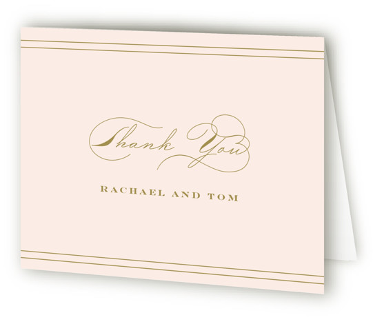 This is a landscape classic and formal, brown, pink Wedding Thank You Cards by Kimberly FitzSimons called Structured Charm with Standard printing on Standard Cover in Card fold over (blank inside) format. A wedding invitation with eye catching type.