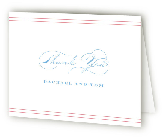 This is a landscape blue, pink Wedding Thank You Cards by Kimberly FitzSimons called Structured Charm with Standard printing on Standard Cover in Card fold over (blank inside) format. A wedding invitation with eye catching type.
