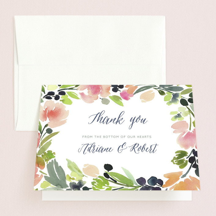 """""""Watercolor Wreath"""" - Floral & Botanical Thank You Cards in Grapefruit by Yao Cheng."""