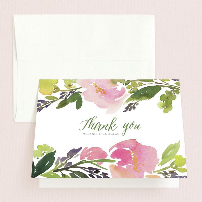"""""""Watercolor Floral"""" - Folded Thank You Card in Olive by Yao Cheng Design."""