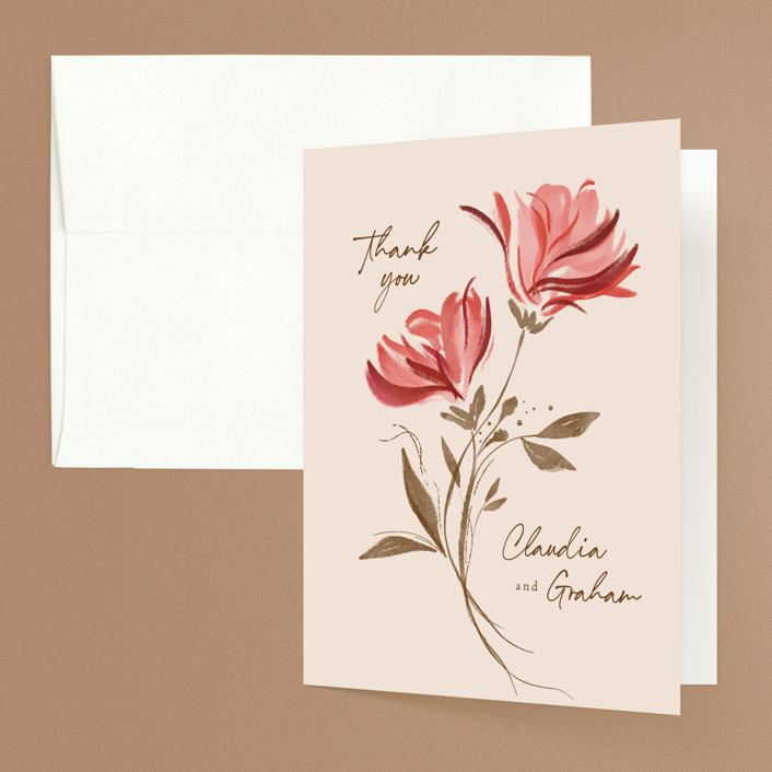 """Painterly Florals"" - Folded Thank You Card in Scarlet by Vivian Yiwing."
