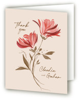 This is a red wedding thank you card by Vivian Yiwing called Painterly Florals with standard printing on strathmore in standard.