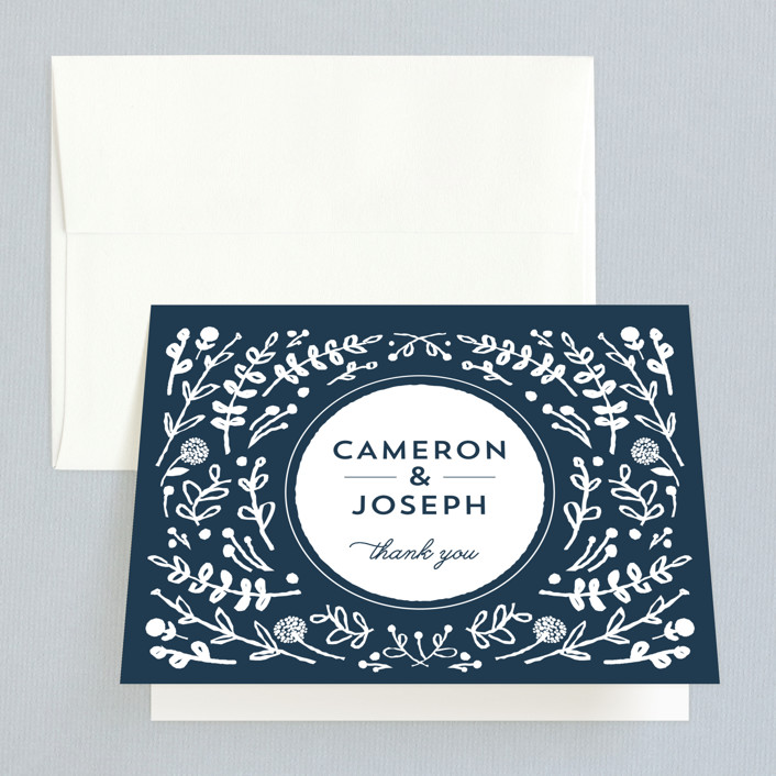 """""""Floral Frame Square"""" - Thank You Cards in Navy by Lori Wemple."""