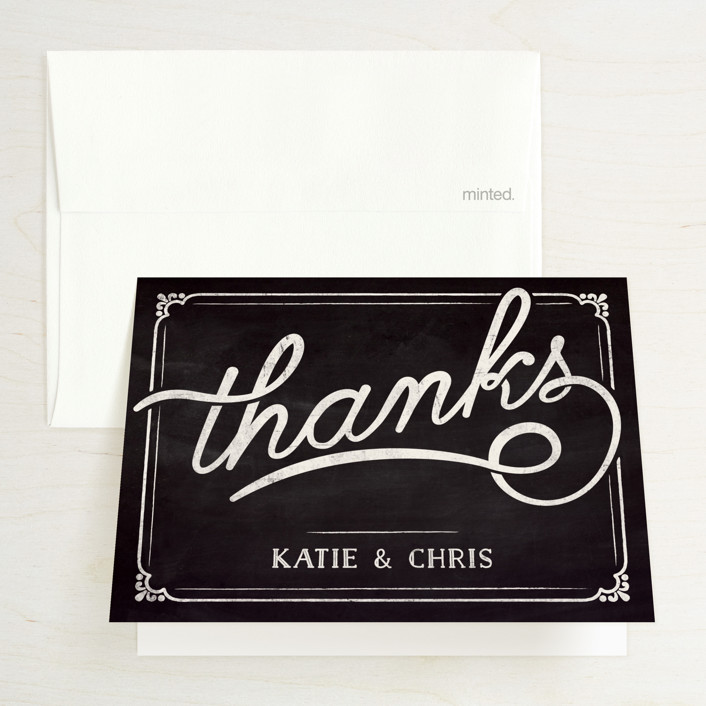 """""""Slated Forever"""" - Bold typographic, Vintage Folded Thank You Card in Chalkboard by GeekInk Design."""