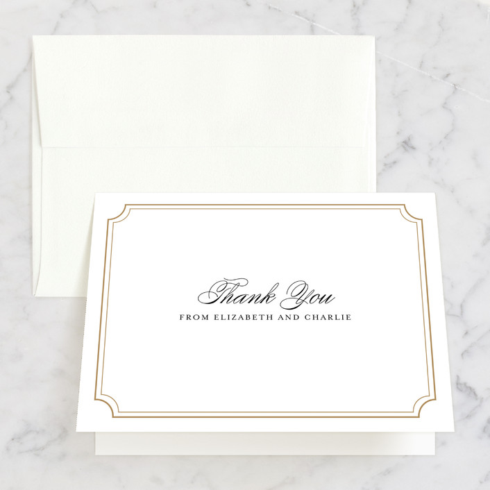 """Classy Type"" - Thank You Cards in Golden by Kimberly FitzSimons."