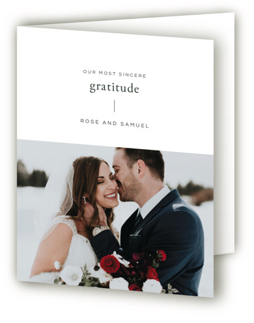 This is a portrait simple and minimalist, green Wedding Thank You Cards by Emmeline Bramble called A Dash of Delight with Standard printing on Standard Cover in Card fold over (blank inside) format. This refined, minimal wedding invitation highlights the ...